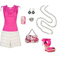 """""""hot pink and Sorrento http://carolyn.mialisia.com/"""" by carolyn-keeler-woodburn on Polyvore Hot Pink top and shoes with scalloped white shorts and floral purse to go with Mialisia Sorrento necklace, Carolina earrings, and Napoli ring http://carolyn.mialisia.com/ and Jamberry Magenta Floral nail wraps http://woodburn.jamberrynails.net/"""