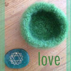 Heart Chakra Bowl with Engraved Green Aventurine Stone // Anahata Chakra // Yoga // Meditation by snowytreedesign on Etsy #chakra #heartchakra #chakrastone #chakrabowl #anahata #yoga #meditation #sacredspace #love #chakras