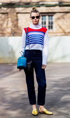 Dress up a striped sweater with gold slip-on loafers.