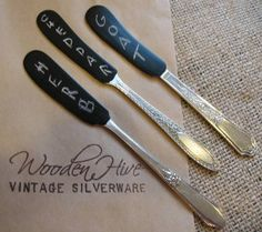 Vintage Silverware Chalk Paint Butter Knife Cheese Marker Set of FIVE. $33.00, via Etsy.
