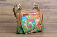 ZINT-Hobo-Bag-Hand-Painted-Leather-Tulips-Women-039-s-Purse-Brown-Floral-Gift