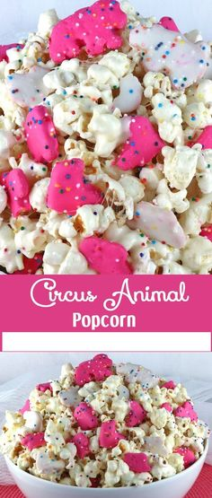 Circus Animal Popcorn - sweet and salty popcorn, covered with marshmallows and yummy Circus Animal Cookies just for fun! A great popcorn treat that is so easy to make! A delicious snack and so very pretty with the sprinkles and the pink and white cookies. Brownie Desserts, Oreo Dessert, Mini Desserts, Easy Desserts, Yummy Snacks, Delicious Desserts, Snack Recipes, Dessert Recipes, Yummy Food
