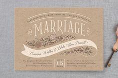 """Rustic Banner"" - Floral & Botanical, Rustic Wedding Invitations in Kraft by Jennifer Wick. Burlap Wedding Invitations, Typography Wedding Invitations, Save The Date Invitations, Invitation Set, Wedding Stationary, Invitation Design, Invites, Burlap Weddings, Wedding Songs"