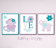 purple teal nursery wall hanging | Personalized Girl Nursery Wall Decor Purple Teal Love Monkey Elephant ...