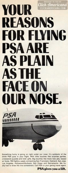 Why fly PSA? Reasons as plain as the face on their nose (1968-1971)