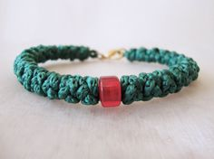 Green Cotton Prayer Rope Bracelet with a Bead and a by BYZANTINO