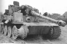 This Tiger has lost it's bite and is being checked out by a British soldier France 1944. The Sherman Firefly was the only allied tanks that could knock out the Tiger at any range, most German tanks were destroyed by Typhoon aircraft rockets, artillery or a side shot or rear shot by a bazooka.