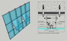 Pele de vidro Architecture Details, Interior Architecture, Smart Glass, Steel Deck, Smart City, Detailed Drawings, Window Design, Autocad, Facade