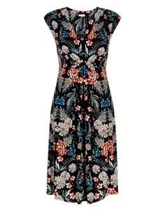 Sandrine Print Knee Length Dress | Multi | Monsoon