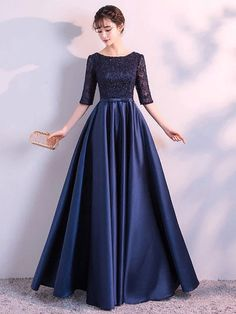 Navy Blue Evening Dresses Long Elegant Simple Formal Dress Plus Size Satin Evening Gown With Lace Sleeves 2018 - Ladies Clothes 24 Navy Blue Evening Dresses Long Elegant Simple Formal Dress Plus Size Satin Evening Gown With Lace S Mermaid Prom Dresses Lace, Grey Prom Dress, Blue Evening Dresses, Evening Gowns, Long Gown Dress, Dress Lace, Stylish Dresses, Fashion Dresses, Formal Dresses