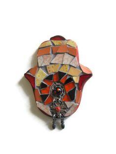 Fridge Magnet Glass Mosaic Jewelry Art Hamsa by MosaicMargalita, $9.90  #mosaic #magnet #hamsa