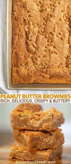 Peanut Butter Filling, Peanut Butter Desserts, Peanut Butter Chips, Köstliche Desserts, Brownie Desserts, Nutter Butter, Health Desserts, Almond Butter, Chocolate Peanut Butter Brownies