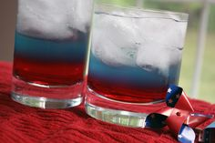 4th of July - Hawaiian Punch on bottom, blue Gatorade, and diet Sprite on bottom