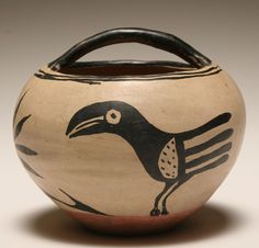 Native American pottery bowl, possibly Santo Domingo; the handled basket form bowl with stylized bird design. 5 Good condition with minor surface wear. Native American Design, Native American Pottery, American Indian Art, Ceramic Art, Ceramic Pottery, Southwest Pottery, Native American Baskets, Pueblo Pottery, Antique Pottery