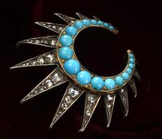 Erie Basin. blog for an awesome vintage jewelry store in Brooklyn.  (1870s French Turquoise & Rose Cut Diamond Brooch)