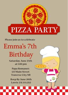 Having a pizza party? has birthday invitations for boys or girls with a pizza theme. Kids Pizza Party, Kids Cooking Party, Pizza Party Birthday, Pizza Pizzeria, Pizza Hut, Free Printable Birthday Invitations, Kids Birthday Party Invitations, Invitation Templates, Card Templates