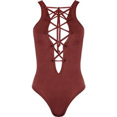 Dakota Suedette Lace-Up Bodysuit ($23) ❤ liked on Polyvore featuring intimates, shapewear, bodysuits, tops, lingerie, one piece, body and wine