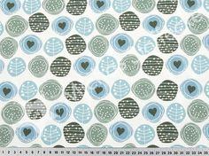 Michas Stoffecke - Stretchjersey Tupfen mit Herz hellblau-petrol-grau auf weiß S-ST3621-09