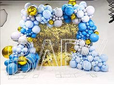 Birthday Balloon Decorations, Gold Party Decorations, Party Themes, Party Ideas, Baby Shower Centerpieces, Baby Shower Decorations, Balloon Gift, Balloon Ideas, Sequin Wall