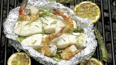 Thrifty Foods - Recipe - Foil-baked Halibut and Prawns Halibut Baked, Prawn, Oven Baked, Gluten Free Recipes, Meal Planning, Seafood, Fish, Foods, Meals