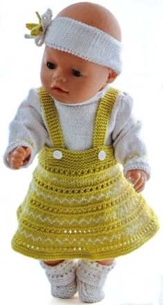 doll dress knitting instructions - your doll will be the queen of the ball in her . : doll dress knitting instructions – your doll will be the queen of the ball in her new beautiful outfit Knitting Dolls Clothes, Knitted Dolls, Doll Clothes Patterns, Clothing Patterns, Baby Born Kleidung, Baby Born Clothes, Doll Clothes Barbie, Sweater Knitting Patterns, Baby Sweaters