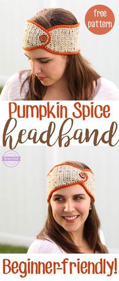 Pumpkin Spice Headband Ear Warmer | Beginner-friendly! | Free Crochet Pattern from Sewrella