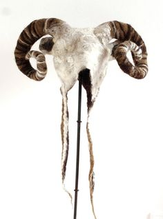 Aries Ram Horned Zodiac Hat fancy dress cosplay costume headdress with adjustable horns in hand felted natural wool