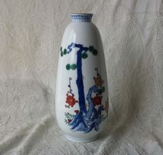"Vintage Chinese Porcelain Vase Pine Tree Design Base Marked 9 3/8"""