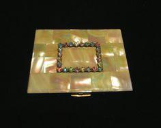 Vintage Cigarette Case Mother Of Pearl Elgin American 1950s Cigarette Case Business Card Credit Card Case Rhinestone EXCELLENT CONDITION