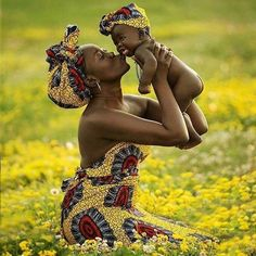 Mother and baby in african wax prints