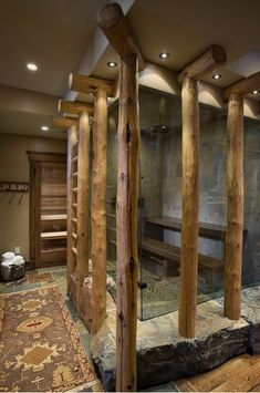 cool shower.. So unique and rustic!