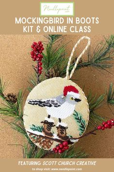 Needlepoint.Com's whimsical mockingbird in boots ornament kit and online class is the perfect project to enjoy during the cooler months!  •  •  #newneedlepoint #needlepointkit #onlineneedlepointclass #needlepointfun #thisisneedlepoint #winterneedlepoint #needlepointornaments #NeedlepointdotCom