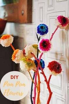 How to make Marimekko inspired rainbow DIY pom pom flowers. A great yarn/wool stash buster and a lovely way to brighten up your home decor. Craft Stick Crafts, Diy Craft Projects, Diy Crafts, Craft Ideas, Yarn Crafts, Craft Tutorials, Diy Ideas, Decor Ideas, Easter Bunny Decorations