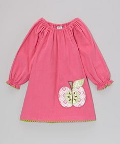Take a look at this Hot Pink Apple Peasant Dress - Toddler & Girls by Shrimp & Grits Kids on #zulily today!