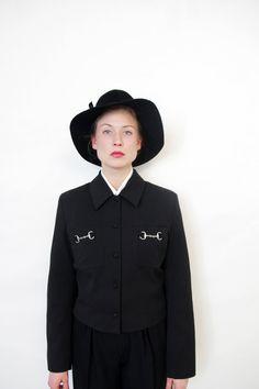 Vintage jacket / black crop coat / size M L by nemres on Etsy