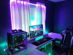 Best Diy Computer Desk Ideas For Home Office ☼ Via Room Setup Gamer Room Good Gaming Desk, Gaming Computer Desk, Gaming Room Setup, Pc Setup, Office Setup, Desk Setup, Gaming Rooms, Computer Technology, Gaming Desktops