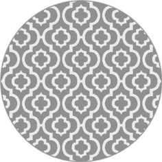 Universal Rugs Metro 1029 Round Contemporary Area Rug, 5-Feet 3-Inch, Gray