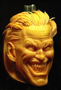 Joker Pumpkin Carving Ideas for Halloween Pumpkin Faces, Joker Pumpkin, Pumpkin Art, Spooky Pumpkin, Pumpkin Ideas, Dog Pumpkin, Pumpkin Designs, Awesome Pumpkin Carvings, Veggies