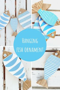 Bing a cheerful, nautical vibe to any space with this hand painted string with 3 hanging wooden fish in white and blue. Each hanging wood fish is hand cut by me from acacia wood, sanded smooth to the touch, painted with white and blue waterproof acrylic paint. Each wood fish has its own design. They are 3 different sizes and held together by a rustic rope. wooden fish décor | wooden fish art | coastal style | beach house interior