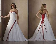Wedding dress with red accents