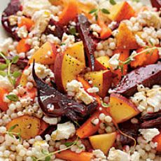 Couscous with roasted peaches and root veggies