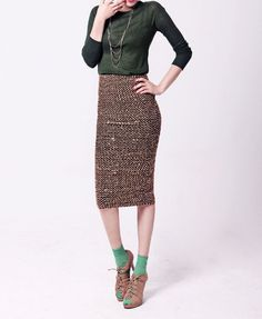 Metal Vogue Golden Sequin Pencil Skirt in High Rise