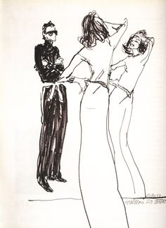 HALSTONETTE Joe Eula's illustration of Halston fitting Lauren Bacall in a long cashmere dress, 1973