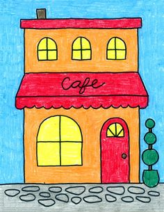 Add some flair to your architecture drawing by learning how to draw a cafe. Old fashioned buildings have interesting windows and doors. Drawing Classes For Kids, Cute Drawings For Kids, Drawing Pictures For Kids, Easy Doodles Drawings, Drawing Tutorials For Kids, Mini Drawings, Kids Art Class, Drawing For Kids, Art For Kids