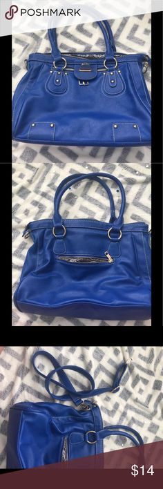 Large blue purse Large blue purse with gold accents. Comes with long strap and small straps. Has multiple tickets inside for storage Bags Shoulder Bags