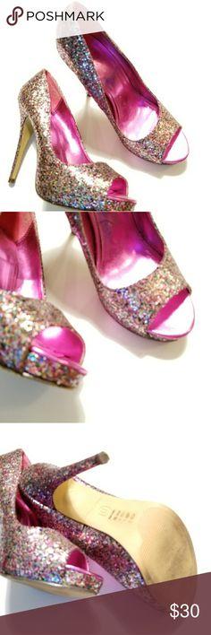 🎉 Multi-color Glitter Party Peep Toe Pumps 8.5 🎉 Michael Antonio glitter pumps. Peep toe. Covered platform sole. Size 8.5.  Gently worn. Very good condition. Michael Antonio Shoes Heels