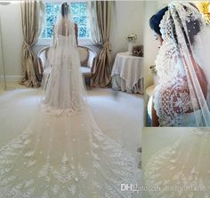 2014 Velo De Novia Three Meters Long Cathedral Wedding Veils 2015 Lace Ivory White Two Layers Tulle And Lace Bridal Veils Purfle Comb Online with $41.89/Piece on Babyonline's Store | DHgate.com