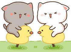 Cute Bear Drawings, Cute Cartoon Drawings, Kawaii Drawings, Chibi Cat, Cute Chibi, Cute Love Gif, Cute Cat Gif, Cute Cat Illustration, Kitten Images