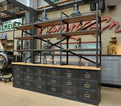 Ronéo Iron and Brass Clapet Cabinet and shelf