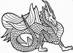 Adult Coloring Pages: Dragons-1